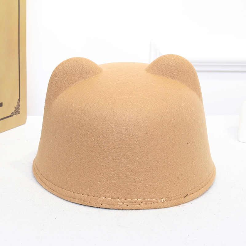 Düz yün keçe Korean kedi kulaklar binicilik kap ebeveyn-çocuk kap düz ağız süvari fötr şapka erkekler kadınlar için çocuk erkek kız