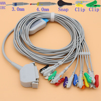 DB15 pins ECG EKG 10 leads cable and electrode leadwire for ECG Siemens,Von berg (Hormana) monitor,Resistance 4.7K OHM.