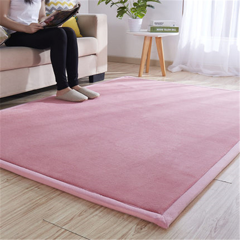 Thick Coral Fleece Carpet Tatami Mat Bedroom Living Room Bay Window Rug Baby Shatter-resistant Crawling Mat  Bedroom Blanket