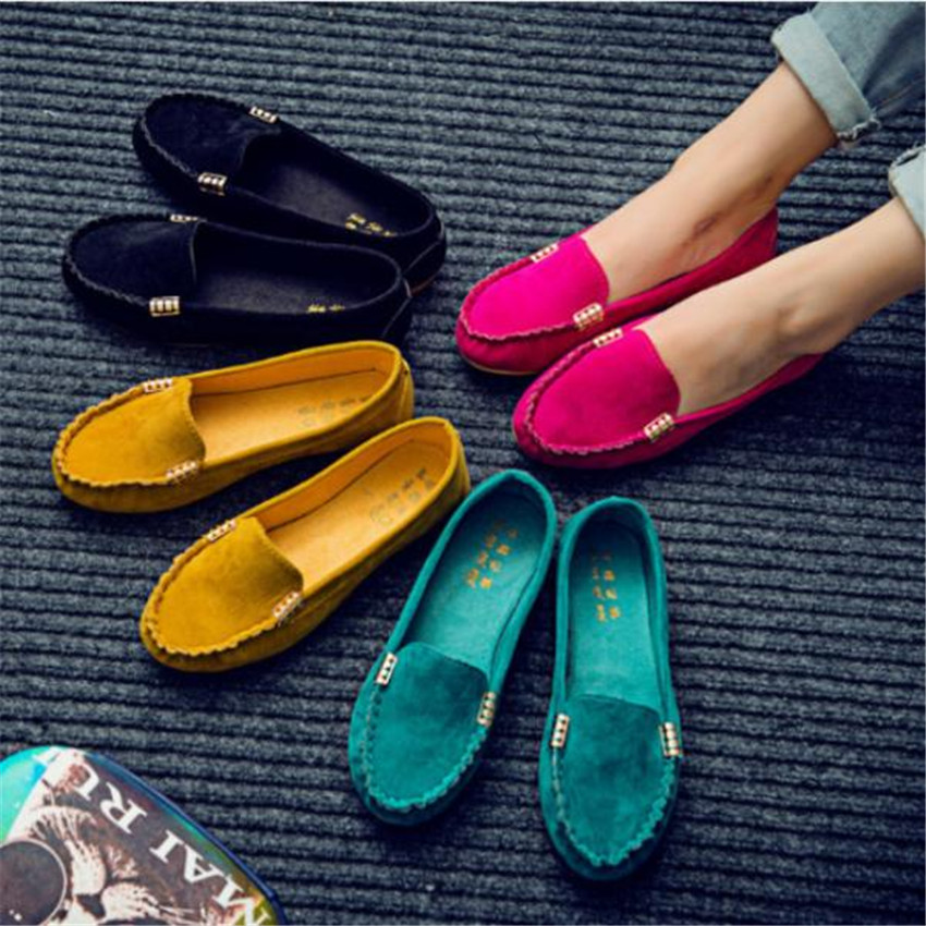 2018 Spring Women Flats Shoes Female Casual Flat Loafers Shoes Slips Leather Soft Round Toe Black Flat Women's Shoes
