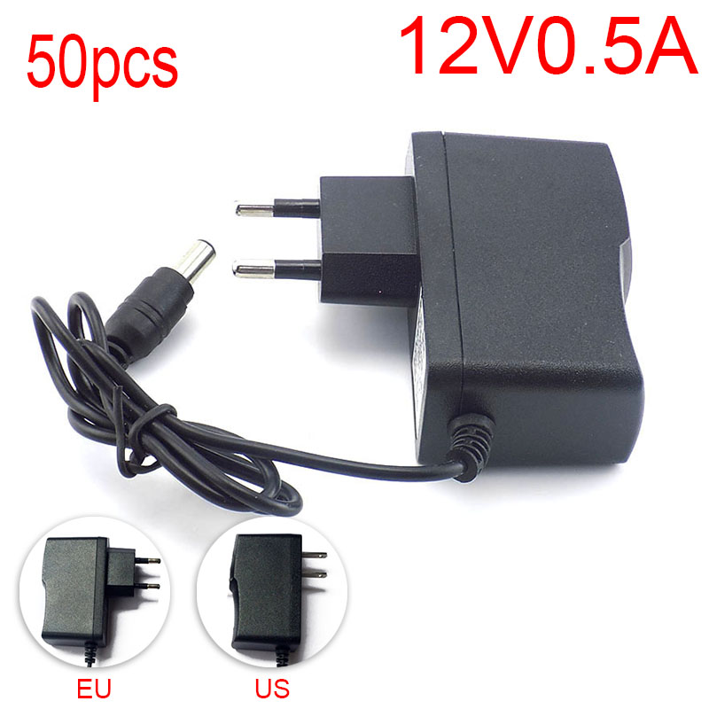 50pcs 100-240V AC to DC Power Adapter Supply Charger Charging adapter 12V 0.5A 500mA EU Plug 5.5mm x 2.1mm for LED Strip Light 4 port 500ma usb power adapter charger 100 240v us plug