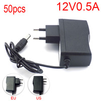 50pcs 100 240V AC to DC Power Adapter Supply Charger Charging adapter 12V 0.5A 500mA EU Plug 5.5mm x 2.1mm for LED Strip Light