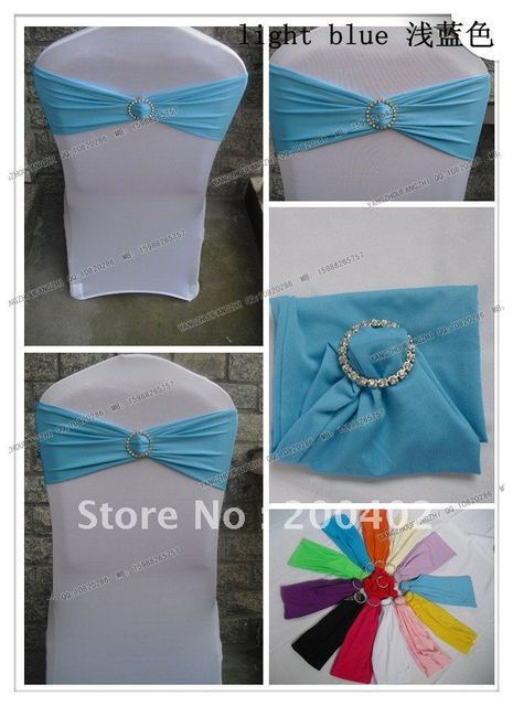 free shipping light blue spandex band with rhinestone  for chair covers/spandex band