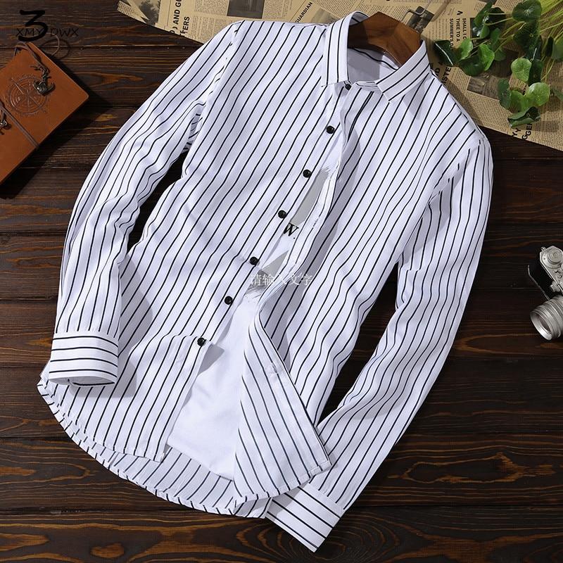 XMY3DWX Men long sleeve shirt male fashion brand new products sell like hot cakes stripe slimming leisure shirt/dress shirt 5XL 1