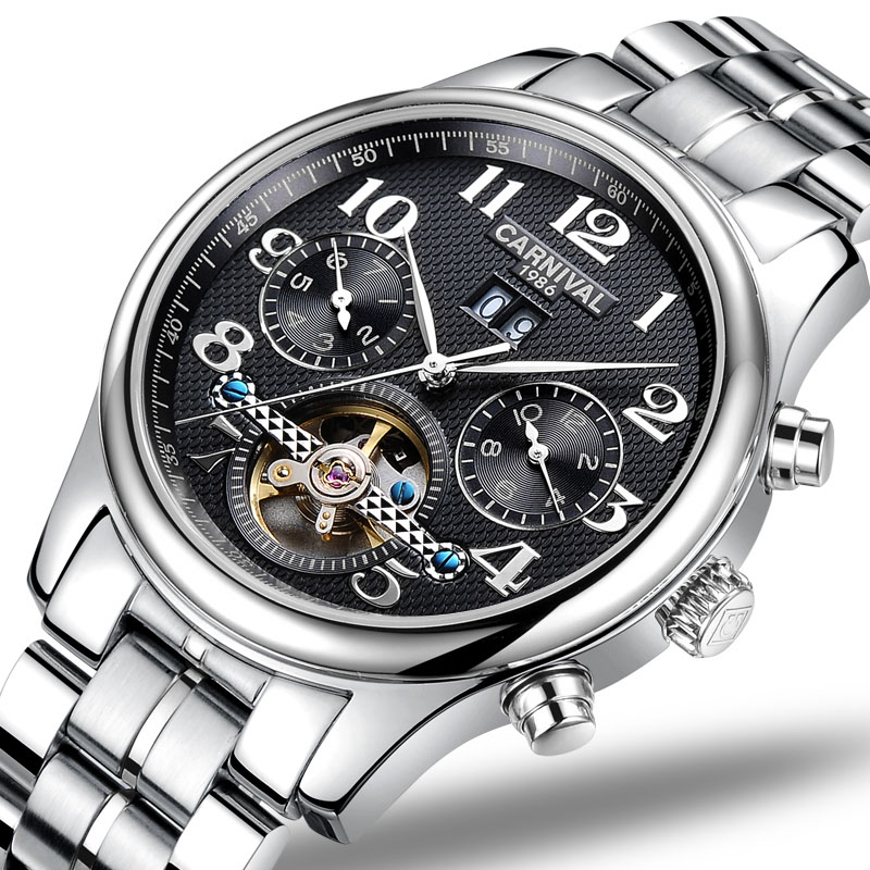 CARNIVAL Luxury Business Men watch High end Tourbillon Automatic watch with Month,Week,Calendar display Mechanical watch for men triple dial hour second week display automatic mechanical watch for men tevise 356