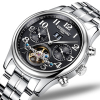 CARNIVAL Luxury Business Men watch High end Tourbillon Automatic watch with Month,Week,Calendar display Mechanical watch for men