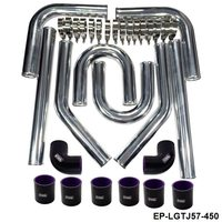 Universal 2.25 inch 57mm Turbo Intercooler Aluminum Pipe Silicone Hose Kit Black Length:450mm For BMW e39 EP LGTJ57 450