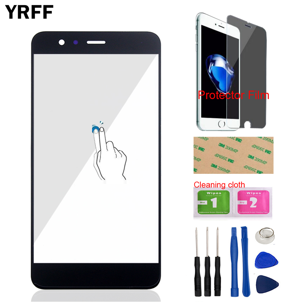 Mobile Phone Front Glass For HuaWei P10 Plus (No Touch Screen Digitizer Panel) Front Outer Glass Tools + Protector Film Adhesive