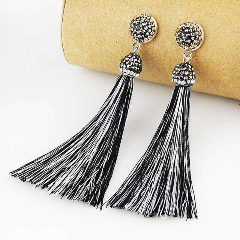 Bohemia Crystal Silk Tassel Earrings Handmade High Quality Black White Long Drop Tassel Dangle Earrings Women Fashion Jewelery