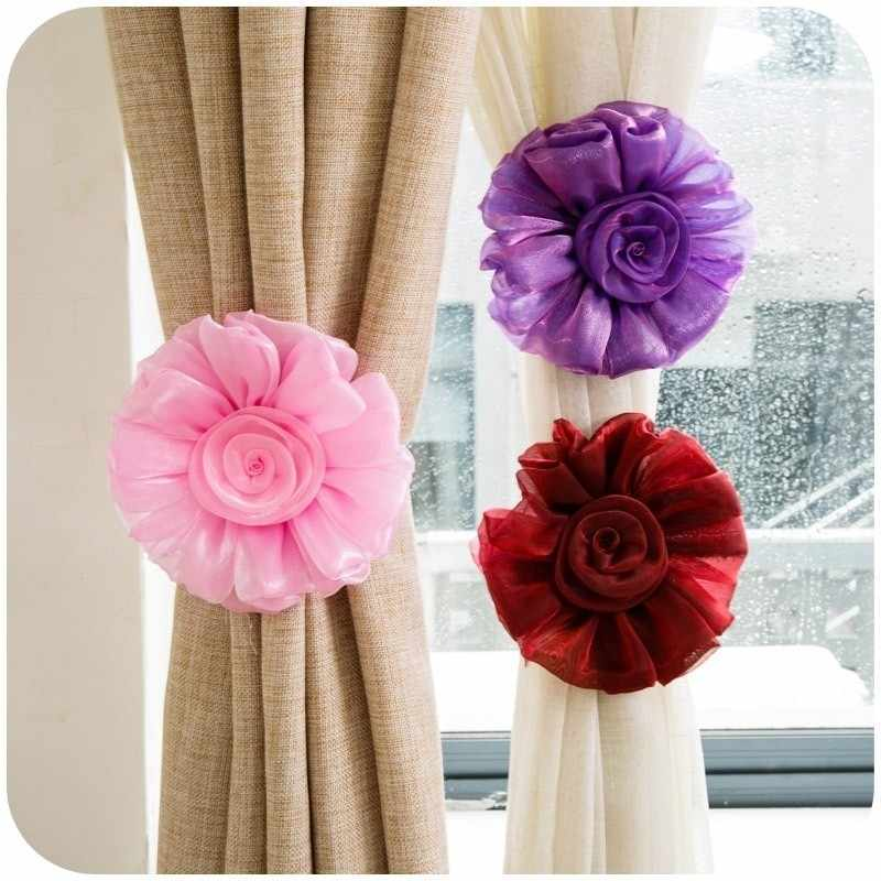 2pcs/set Stain Curtain Clip Big Rose Flowers Curtain Tieback Living Room Bedroom Home Curtain Holder Tie Backs Drape Decoration