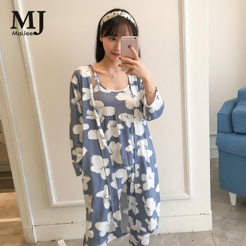 MaiJee 3 Pic Pijama Set Flowers Pijama Feminino Pyjama Femme Pigiama Donna Pyjamas Women Pijamas Mujer Pajamas Night Suit Pajama Пижама