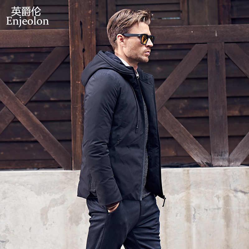 Enjeolon 冬の綿パッド入りのコートの男性黒パーカーパーカーコート s 3XL 厚いキルティングファッションコート男性 MF0002