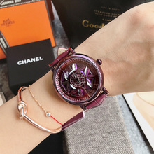 Elegant Women Purple Watches Rotation Ladies Dress Watch Real Leather Band Big Dial Bracelet Crystal zegarek damski
