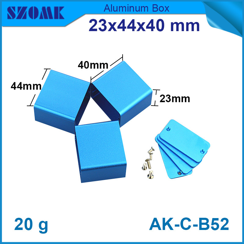 1 pcs/lot free shipping small pretty blue aluminum project box 23(H)x44(W)x40(L) mm for electronics and industry from Shenzhen e cap aluminum 16v 22 2200uf electrolytic capacitors pack for diy project white 9 x 10 pcs