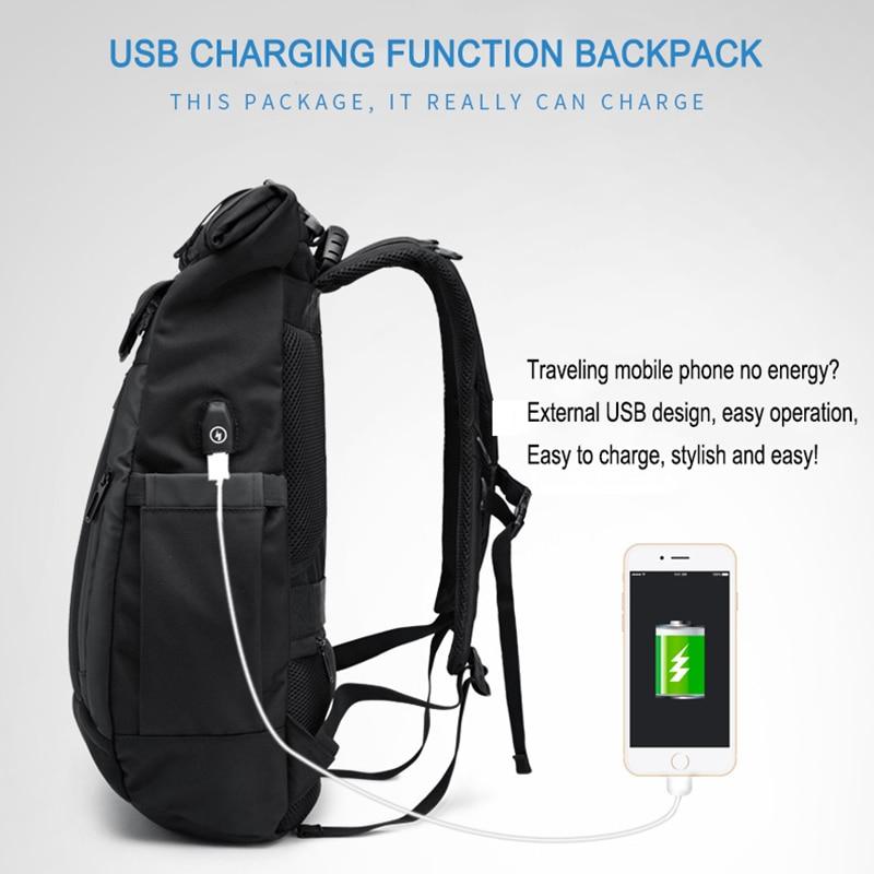 2019 OZUKO 新しい多機能男性バックパック USB 充電ノートパソコンのバックパックティーンエイジャーのファッション通学防水旅行 Mochila  グループ上の スーツケース & バッグ からの バックパック の中 3