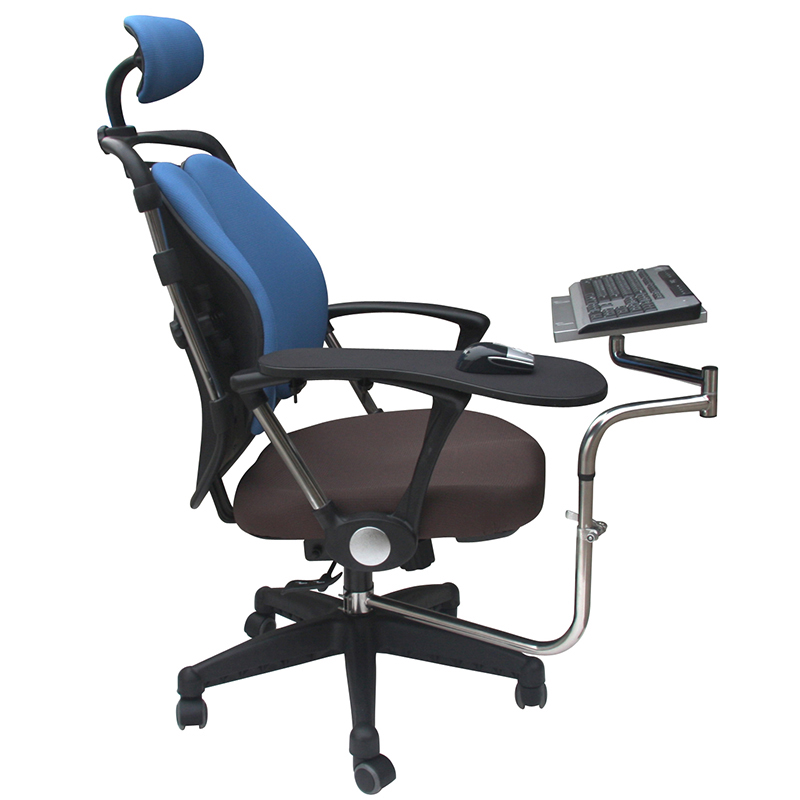 OK010 Silla de movimiento completo abrazadera de eje soporte de teclado + abrazadera de brazo de silla codo soporte de muñeca alfombrilla de ratón reposabrazos para oficina y juego
