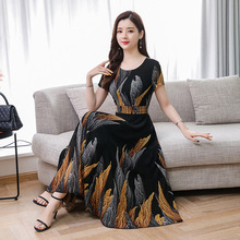 Summer Fashion Women Printed Slim Temperament Leisure O Neck Short Sleeve Chiffon Dress
