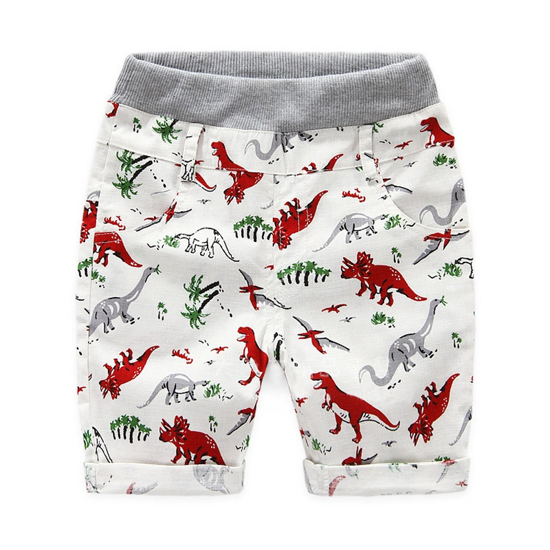 Summer Loose Boys 2~7 Ages Kids Boys   Shorts   Children Beach Wear Dinosaur Pattern Boys Bottom Pants Character Sports New