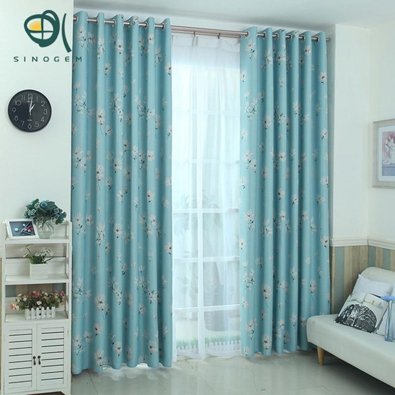 Sinogem Brand News White Flower Design Sheer Window Blackout Curtains For  Bedroom Living Room Full Shading