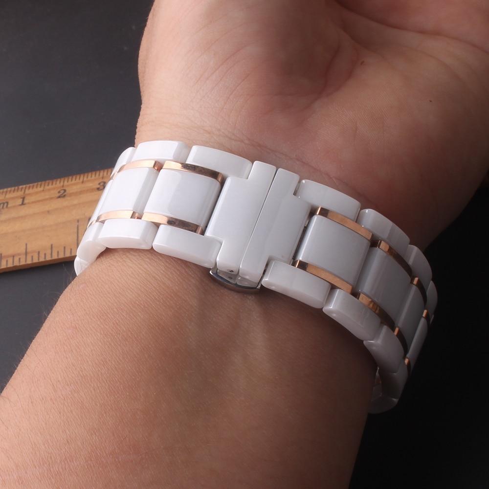 Fit Samsung Galaxy Bracelets de montre Bracelet Bracelet haute qualité en céramique polie Bracelets hommes femmes blanc avec or rose - 6