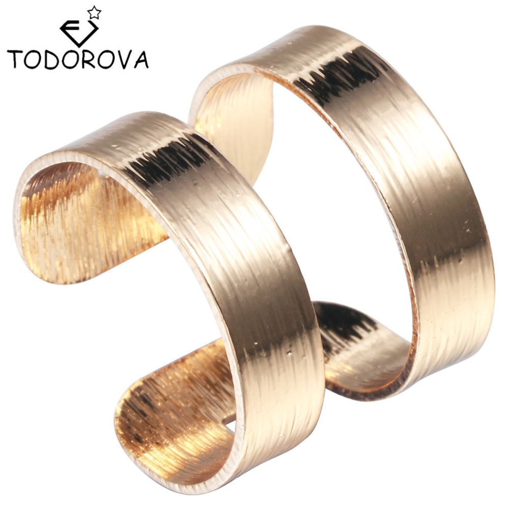 Todorova Hot Sale Silver Women Men Adjustable Finger Rings Female Special 2 Lines Jewelry Wedding Engagement