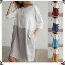 2019 summer hot big size ladies dress round neck seven-point sleeve loose cotton women dress цена
