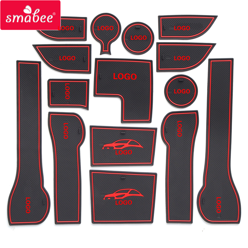 smabee Gate slot mat For Hyundai 2017 Solaris 2 Interior Door Pad/Cup Non-slip mats red/blue/white 15pcs eubest brand new 11pcs non slip interior door mat cup mat for toyota corolla 2009 2013 version blue