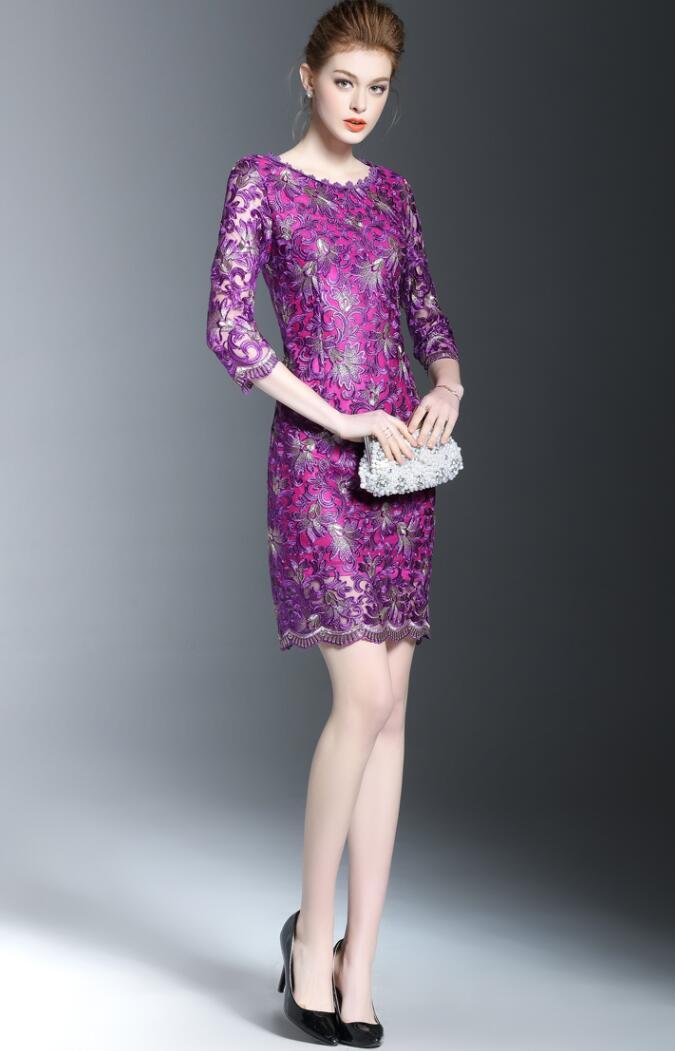 Новое осеннее модное платье, женское платье с круглым воротником, с рукавом в семь точек, расшитая накидка, вечернее платье фиолетового цвета, размер M-4XL