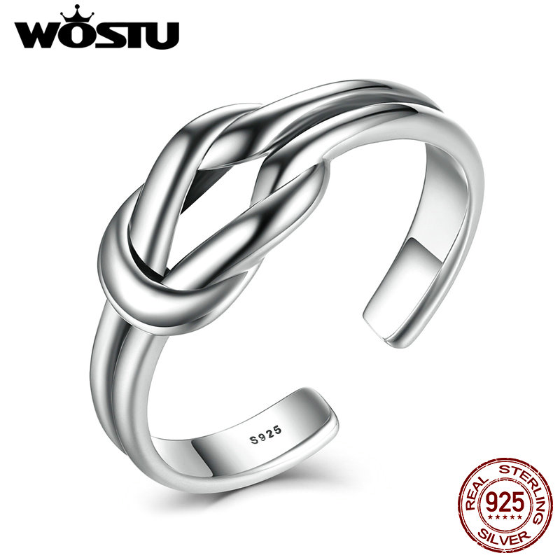 2018 New Fashion Real 925 Sterling Silver Knot Open Finger Rings For Women Punk Ring Fine Jewelry Gift CSR026