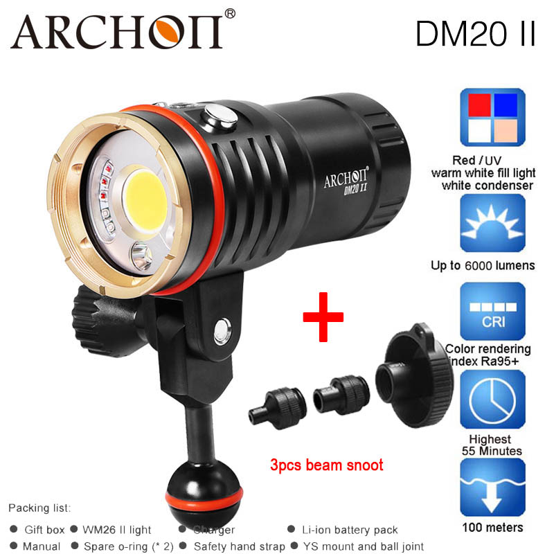 ARCHON DM20 WM26 DM20-II WM26-II Aluminum Waterproof XML2 U2 6000LM 4 Color Light Tint Diving LED Flashlight Torch+32650 Battery sitemap 26 xml page 7