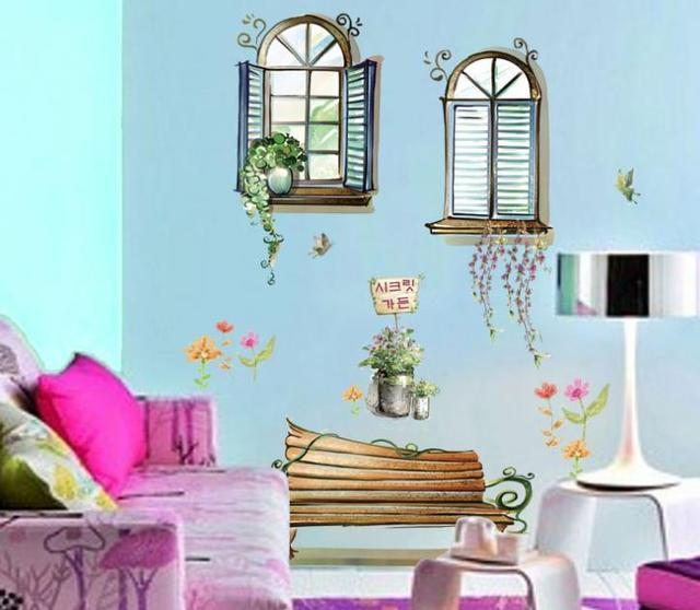 vinilos adhesivos decorativos pared venster stoel bloemen anime wasbare muursticker interieur kinderkamer decal sticker