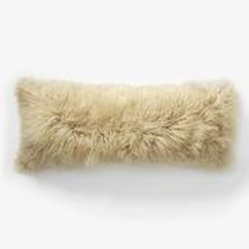 2016 Beige Tibetan Lamb Fur Cushion cover 20x50 Decorative Cushion Coves For Sofa Mongolian Real Fur Pillow Cover Almofada New