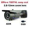 Sony ик/effio-e 700TVL 2.8-12 мм зум-объектив ИК CCTV открытый водонепроницаемый пуля видеонаблюдения камеры установить систему
