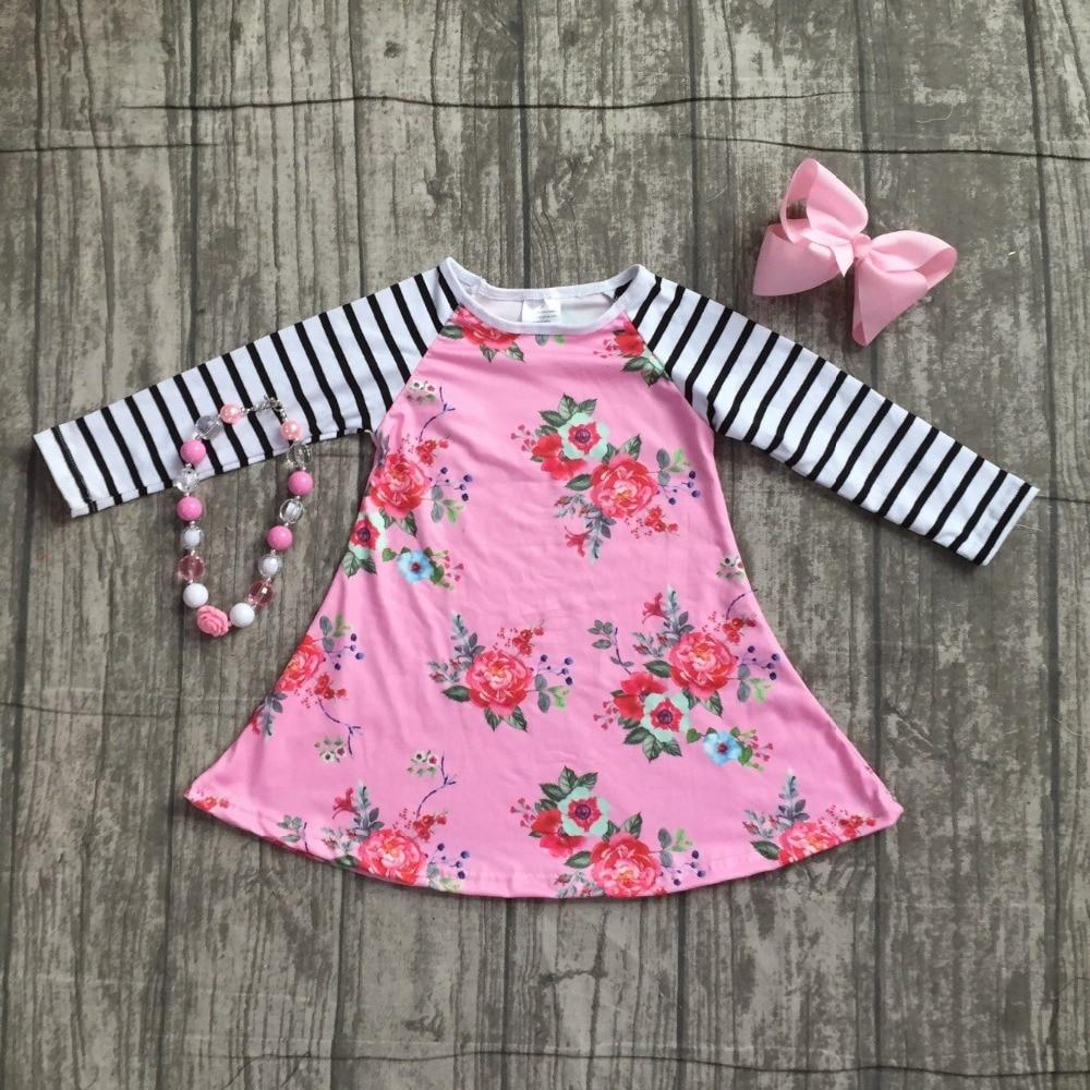 new 2018 autume Fall/winter hot sale girls ruffle boutique pink floral stripe dress children clothes milk silk match accessories ruffle sleeve stripe dress