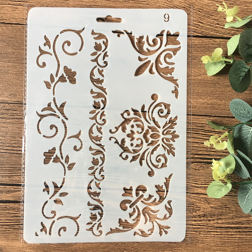 26cm Floral Frame Edge DIY Craft Layering Stencils Painting Scrapbooking Stamping Embossing Album Paper Card Template