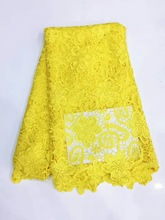 African lace fabric 5yds/pce by dhl 100% cotton material yellow laces for women event dress 2017 new arrival nigerian fabrics