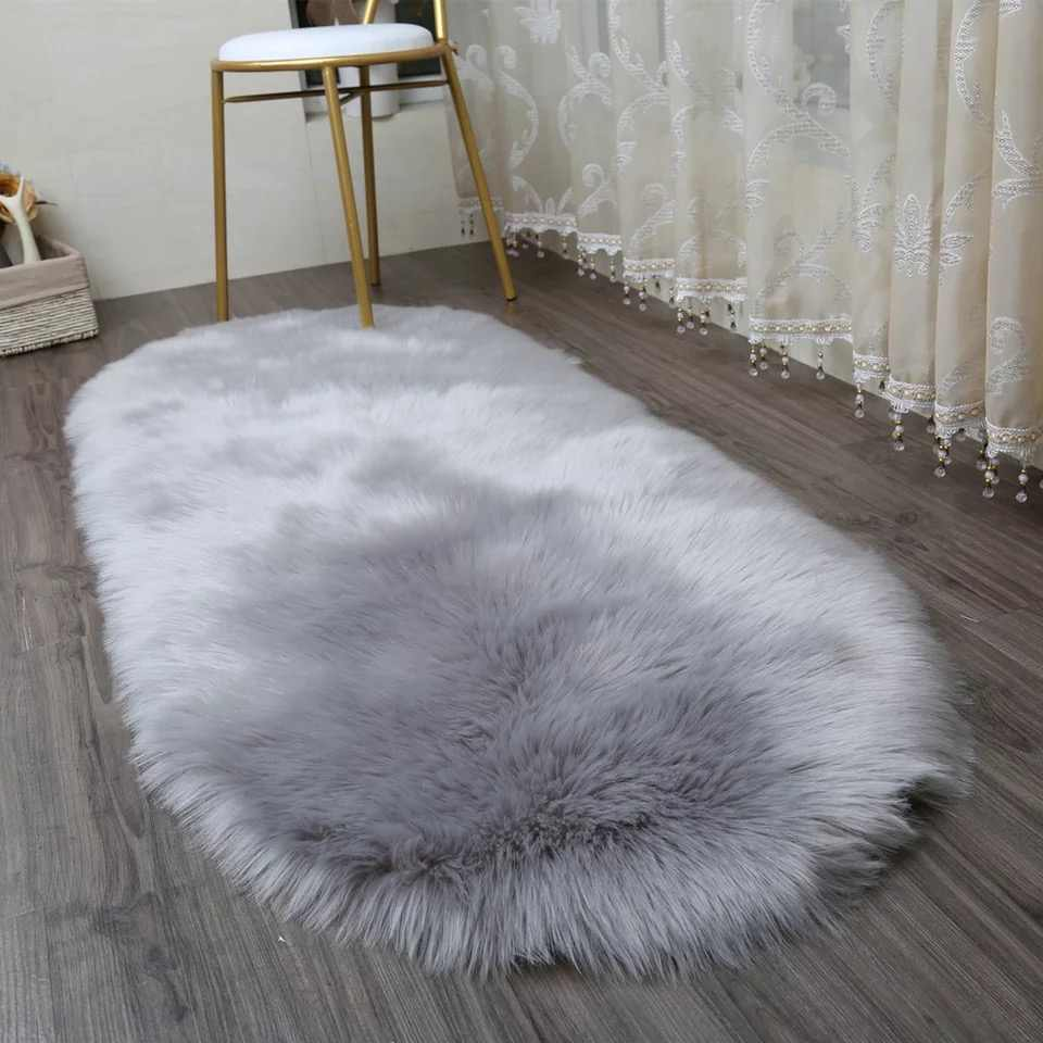MUZZI Long Faux Fur Artificial Skin Rectangle Fluffy Chair Seat Sofa Cover  Carpet Mat Area Rug Living Bedroom Home Decoration