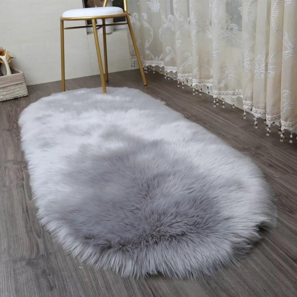 MUZZI Long Faux Fur Artificial Skin Rectangle Fluffy Chair