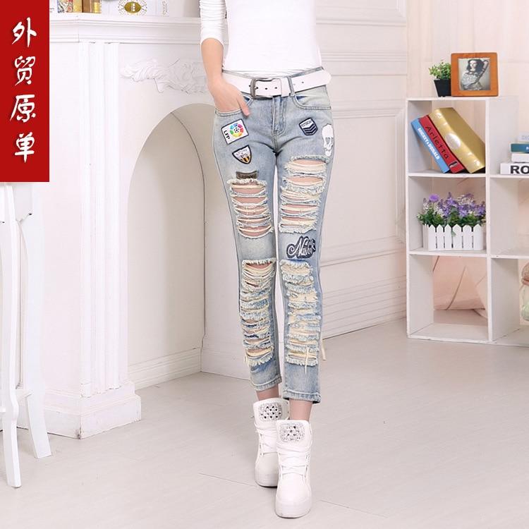 Slim hole jeans female low handmade cotton denim trousers