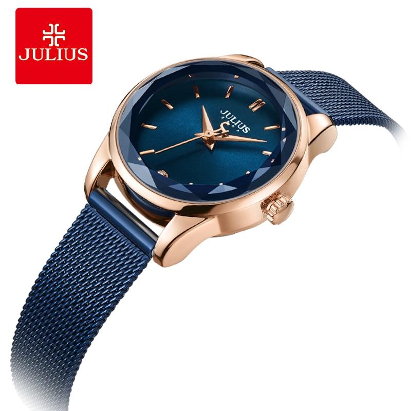 Julius Watch Irregular Crystal Glass Women s Slim Fashion Watch Simple Design Bracelet Watch Round Dial