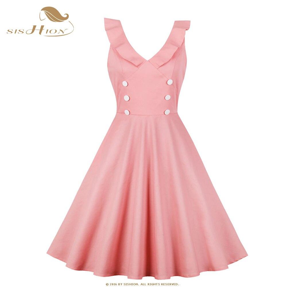 SISHION 50 s 60 s Swing rétro Vintage robe VD1051 sans manches à volants Design avec bouton col en V Sexy rose robe noire