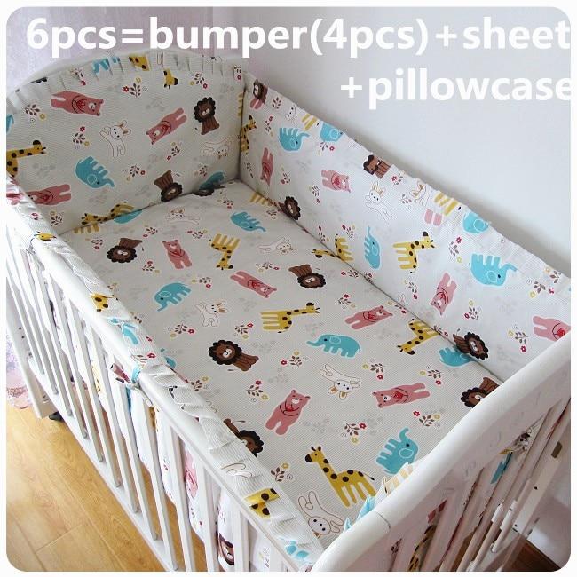 Discount! 6pcs Cotton Baby Bedding Set Cartoon Crib Bedding Set for Girls Detachable,include(bumper+sheet+pillowcase)