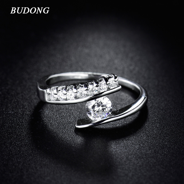 BUDONG Fashion Design Finger Ring for Women  White Gold-Color Finger Gorgeous Rings CZ Zircon Engagement Wedding Jewelry R181