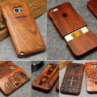 Wood Case For Samsung Galaxy S5 S6 S7 Edge Plus Note 5 4 3 Bamboo Carving