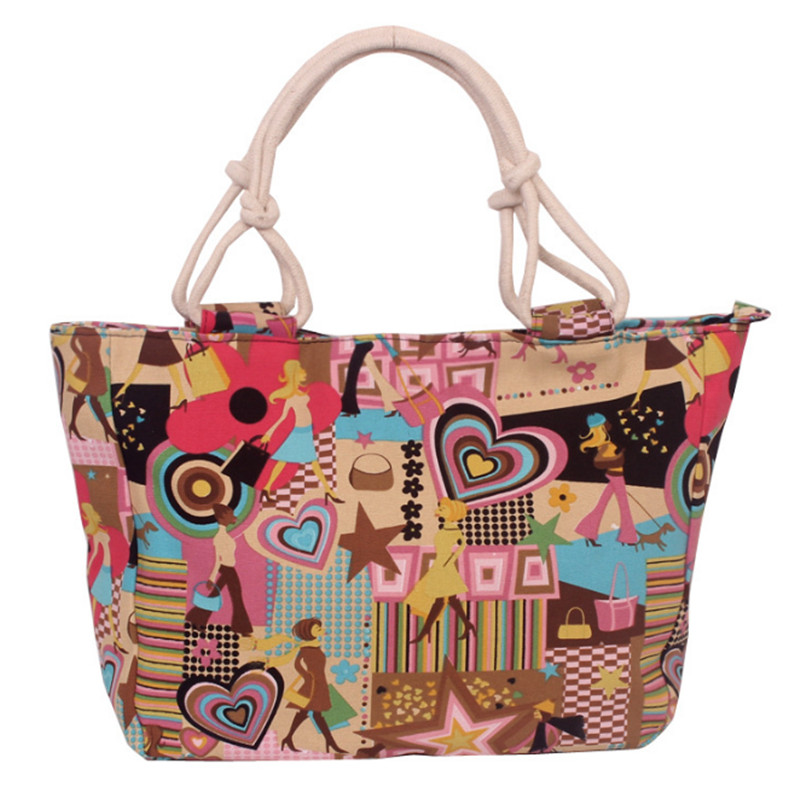 Fashion Folding Women Big Size Handbag Tote Ladies Casual Flower Printing Canvas Graffiti Shoulder Bag Beach Bolsa Feminina 5