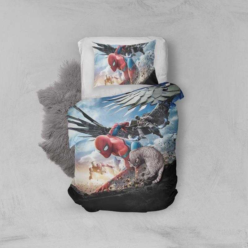 Spider man 3D Printing Duvet Cover Pillow Case Bedding Sets,Anime Kids Single Quilt Set,Bedroom Spiderman Homecoming