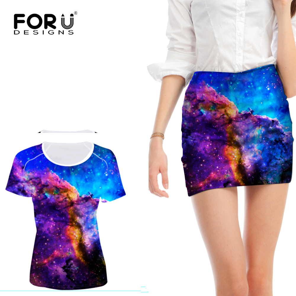 FORUDESIGNS bleu 3D Galaxy femmes ensemble univers Space Star 2 pièces ensemble femmes été t-shirt avec Mini jupe conjoncto féminin