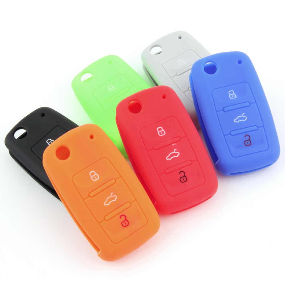 Universal de silicona Auto remoto llavero de coche funda caja de color caramelo accesorios de coche para Volkswagen
