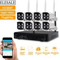 HD 960 마력 야외 감시 카메라 시스템 8CH NVR 키트 CCTV 홈 보안 카메라 시스템 무선
