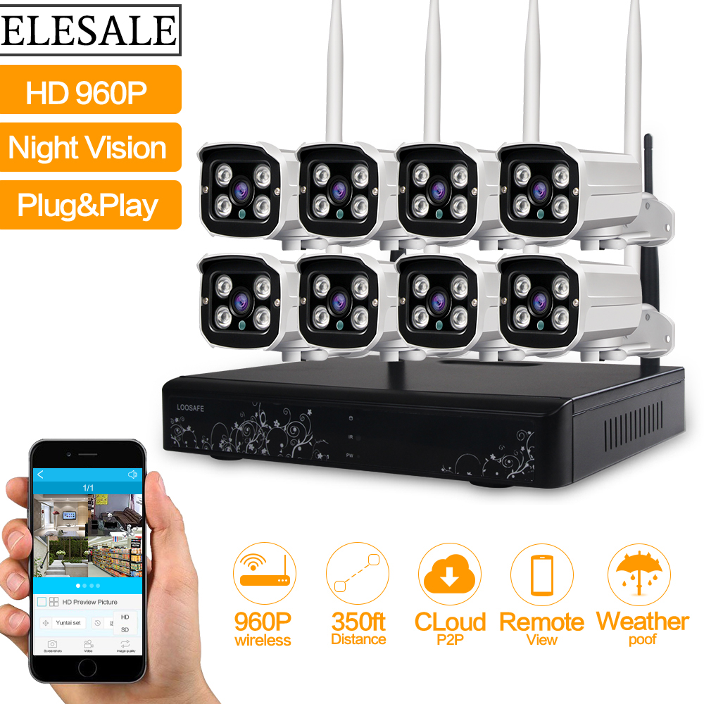 HD 960P Outdoor Surveillance Camera System 8CH NVR Kit CCTV Home Security Camera System Wireless WIFI IP Camera System цена